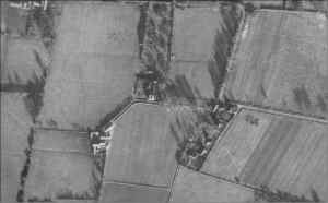 1940's aerial photograph which shows the out field boundaries relating to the priory site.