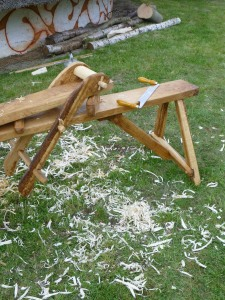 Our drawhorse and drawknife with the obligatory masses of wood shavings.