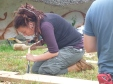 Claire chiselling a lap joint.