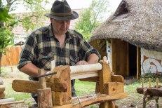 Modern bodger, Richard Devaney, with his lovely traditional oak lathe