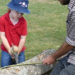Chopping some wood with a Mesolithic axe