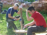 Rupert and new-blood James get stuck in to constructing the 'work-donkey'.
