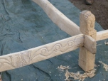 The first joint in place, showing off a complex tusk-tenon-lap joint.