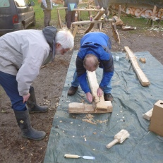 Mike and Terry work together putting together the first joint.