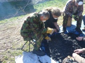 Sorting the charcoal- breaking it up into convenient sized lumps and sieving the dust out.