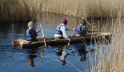 Its maiden voyage out into the marshes.
