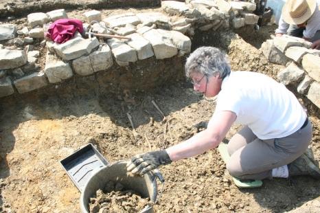 monks grave in excavation