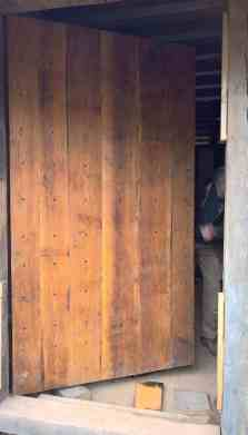 The outside of the 2 plank thick door