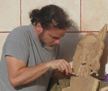 Richard finishing the fine detail on a Viking style chair