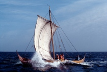 Roar Ege replica of Skuldelev 3 at sea